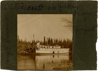 S.S. Rideout steamship sails up Yukon River, Alaska