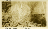 Lower Baker River dam construction 1925-09-30 Top of Dam