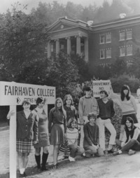 1968 First Fairhaven Students in front of Edens Hall