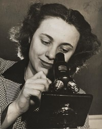 1945 Elaine Dahlgren With Microscope