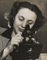 1945 Elaine Dahlgren With Microscope