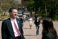 2008 Bruce Shepard visiting with Student