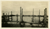 Posts, beams, nets of fish trap at shoreline