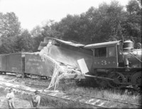 Train collision - Chicago, Milwaukee and St. Paul locomotive with T.E. 3 R.R., Great Northern 22403 locomotive