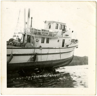 Partial view of beached fishing tender with