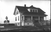 New dwelling at Ediz Hook Light Station, right after it's construction. Sharp negative.