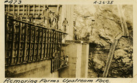 Lower Baker River dam construction 1925-04-26 Removing Forms Upstream Face