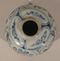 Jar with blue decoration of floral scrolls