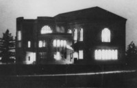 1931 Library: South East Facade at Night