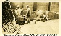 Lower Baker River dam construction 1925-09-25 Concrete Drain Run #221 El.318