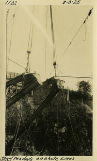 Lower Baker River dam construction 1925-08-03 Steel Pendants on Chute Lines