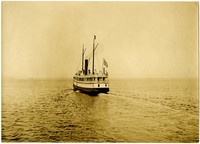 Aft-view of small, unidentified passenger ship