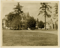 Grassy quad and exteriors of Denny Hall and Science Hall buildings on University of Washington campus