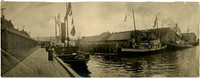 """Pacific American Fisheries cannery docks in Fairhaven with steam-powered tugboats """"Ernest A. Hamill"""", """"John Cudahy"""" and """"Charles Councilman"""""""