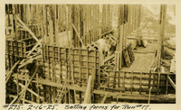 Lower Baker River dam construction 1925-02-16 Setting Forms for Run #17 - Trench in concrete (offset)