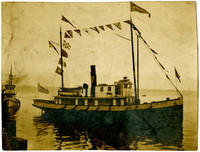 """Pacific American Fisheries steamer """"John Cudahy"""" bedecked by maritime flags"""