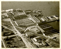 Aerial view of Pacific American Fisheries complex in Fairhaven, Washington (from the East)