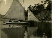 A small gaff-rigged sail boat