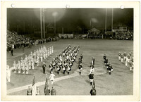 Bellingham Drum & Bugle Corps - Marching band performs on baseball field under lights at night