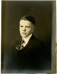 Studio portrait of adolescent boy