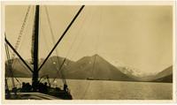 Steam/sail fishing vessel sails towards shore