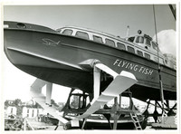 "Close up of hydrofoil boat ""Flying Fish"" in dry dock"