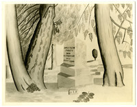 Watercolor of cemetery scene showing gravestone of James (a.k.a. Jimmy) Tilton Picket, among tall trees
