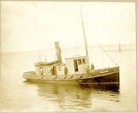 "Fishtrap tender ""Steelhead"" with several men on deck"