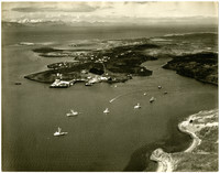 Aerial view of small fleet of fishing vessels in small bay with cannery facilities on shoreline