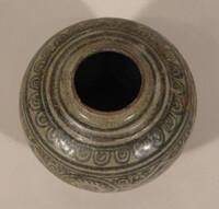 Sawankhalok ware jar, globular body with iron-black design of circles and diamonds within wide floral scroll band crack