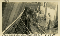 Lower Baker River dam construction 1925-08-29 Preparing for Run #203 El.414