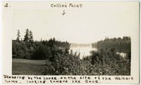 """Cultivated field surrounded by trees with water inlet beyond, at """"Collins Point"""" as indicated on photograph"""