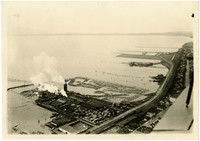 Aerial view of Whatcom Falls Mill Company on Bellingham Bay
