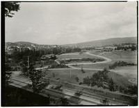 Fairhaven Park with Chuckanut Drive in the foreground and the park in the middle ground.