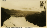 Lower Baker River dam construction 1925-11-30 Lake Shannon (with debris being caught by submerged trestle)