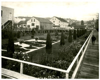 Boardwalk surrounds the Pacific American Fisheries decorative garden next to the administrative offices, Fairhaven (Bellingham), Washington