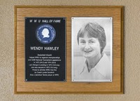 Hall of Fame Plaque: Wendy Hawley, Women's Basketball (Guard), Class of 1987