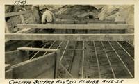 Lower Baker River dam construction 1925-09-12 Concrete Surface Run #217 El.418.8