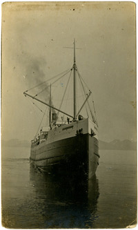 Prow of freight steamship