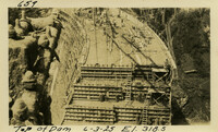 Lower Baker River dam construction 1925-06-03 Top of Dam