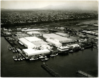 Aerial view of Bellingham industrial waterfront with Bellingham Cold Storage in foreground