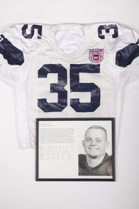 Football Jersey and Photograph:  Jersey #35 and photograph of Wade Gebers, list of honors and records, 1993/1996