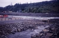 South Fork Toutle River showing dam and Washington Game Department fish trap.