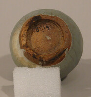 Sawankhalok ware jar, ovoid body with vertical grooves, two loop handles at neck