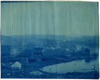 Hilltop view of Harris Avenue and Fairhaven, Washington with estuary waters in foreground