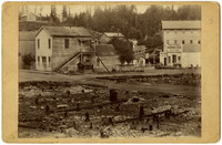 Charred remains of building at Division Street, Whatcom after 1885 fire