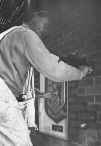 1973 Buchanan Towers: Coat of Arms Installation