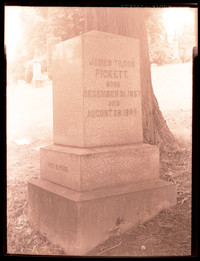 "Negative image of gravestone of James Tilton Pickett engraved on the front as follows: ""Born December 31 1857 - Died August 28 1889"" and on the side: ""Rest in Peace"""