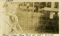 Lower Baker River dam construction 1925-09-11 Reinf Steel Run #215 El.415.5
