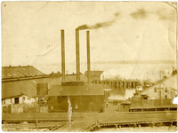 Industrial dockyard with powerplant at Bellingham, Washington (Pacific American Fisheries operation)